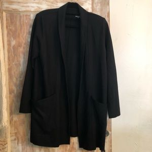 Eileen Fisher Wool Flannel Open Front Cardigan